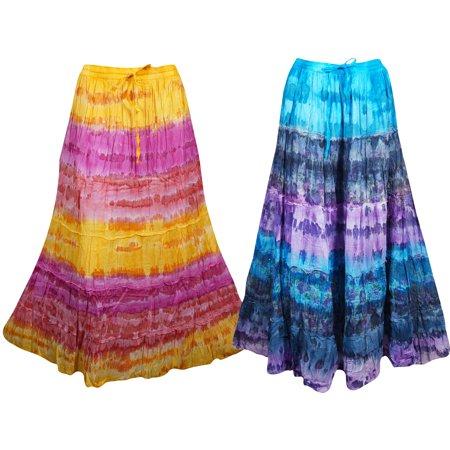 Mogul Tie Dye Cotton A-Line Colorful Summer Fashion Long Skirts ()