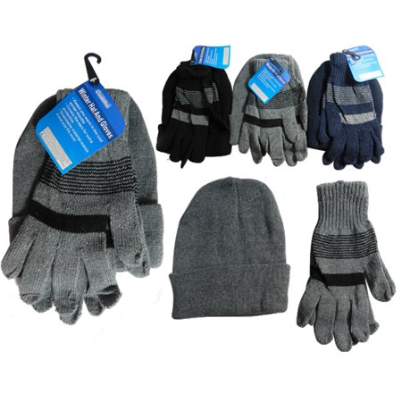 1 Mens Hat Gloves Set Winter Ski Skully Beanie Cap Snow Cold Unisex Warm Soft