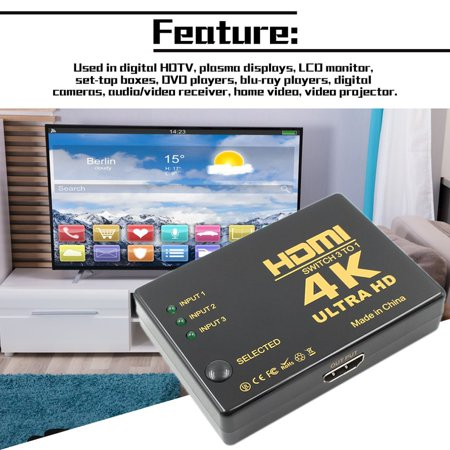 HDMI Switch Switcher 3 Input To 1 Output 4K Ultra HD Video Audio Splitter - image 5 of 8