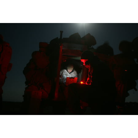 Light Armored Reconnaissance - LAMINATED POSTER Marines of Company D, 1st Light Armored Reconnaissance, 1st Marine Division, end their day by compil Poster Print 24 x 36