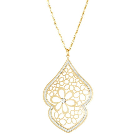 X & O 14KT Gold Plated Double Spade Flower Filigree with Crystal Necklace