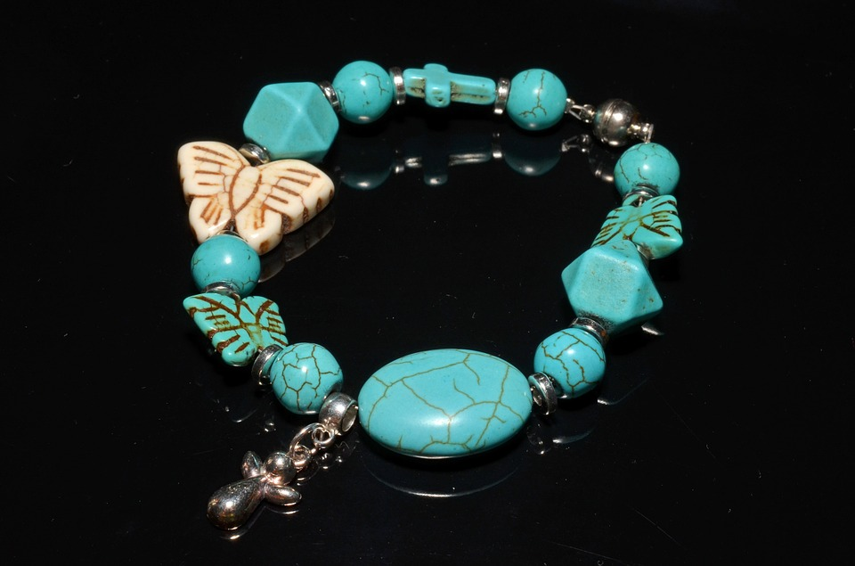 Framed Artwork For Your Wall Charm Jewelry Bracelet Turquoise 10x13 Frame by