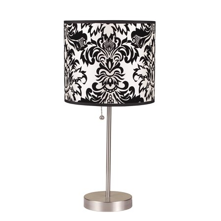 International 8312B 19-Inch Brushed Steel Table Lamp with Damask Print Shade, 6235SN Black Print 2025 ClipOn 19H give 15Inch Degree 19 it Square 360.., By ORE Ship from US