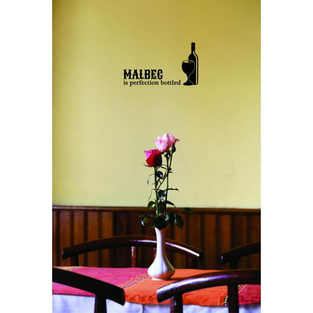 Custom Wall Decal Sticker : Malbec Is Perfection Bottled Wine Bottle Home Decor :10