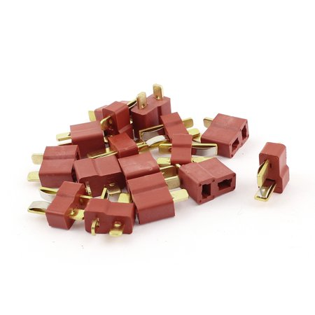 Goldstone Plugs - Unique Bargains 8 Pair Male + Female T Plug Li-Po Battery Connector Red Gold Tone for RC Toy