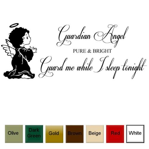 Decal the Walls Guardian Angel True and Bright, Guard Me As I Sleep Tonight' Vinyl Wall Art Decal