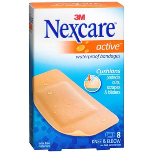 Nexcare Active Extra Cushion Bandages Knee & Elbow 8 Each (Pack of 4)