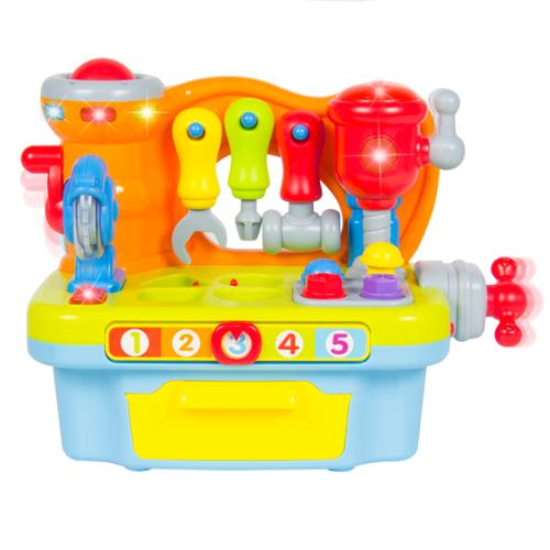 Musical Learning Pretend Play Tool Workbench Toy, Fun Sound Effects &  Lights