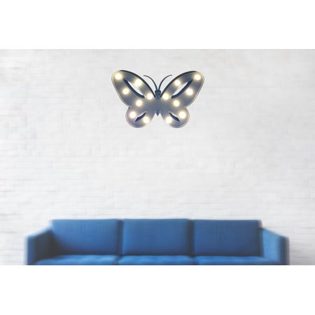 Battery-operated Butterfly Light with 14 lights; Color Blue. Runs on 2AA Batteries. Product Size: 10.25 x 6.75 x 1.25. Desk-top or hanging. Center piece