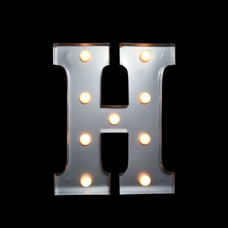 Marquee Light Letter H Led Metal Sign 10 Inch Battery