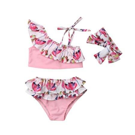 Toddler Kids Baby Girls Summer Flower Ruffle Bikini Set Swimwear Swimsuit Bathing Suit