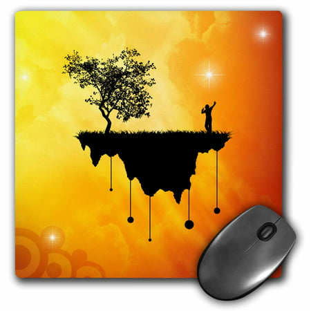 0.25 Slice - 3dRose Slice of Earth 1 silhouette of a person and tree on landmass traveling in space, Mouse Pad, 8 by 8 inches