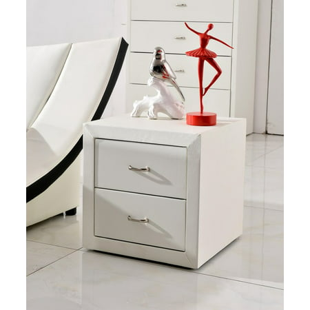 US Pride Furniture™ Riley 2 Drawer Faux Leather Modern Nightstand, White