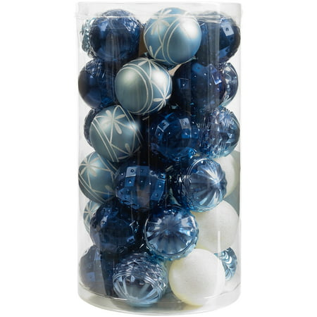 Holiday Time 41-Piece Shatterproof Ornament Set, Light Blue, Dark Blue & White
