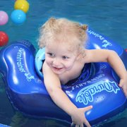 Swimming Ring Inflatable Baby Float Double-Layer Inflatable Safety Strap Blue