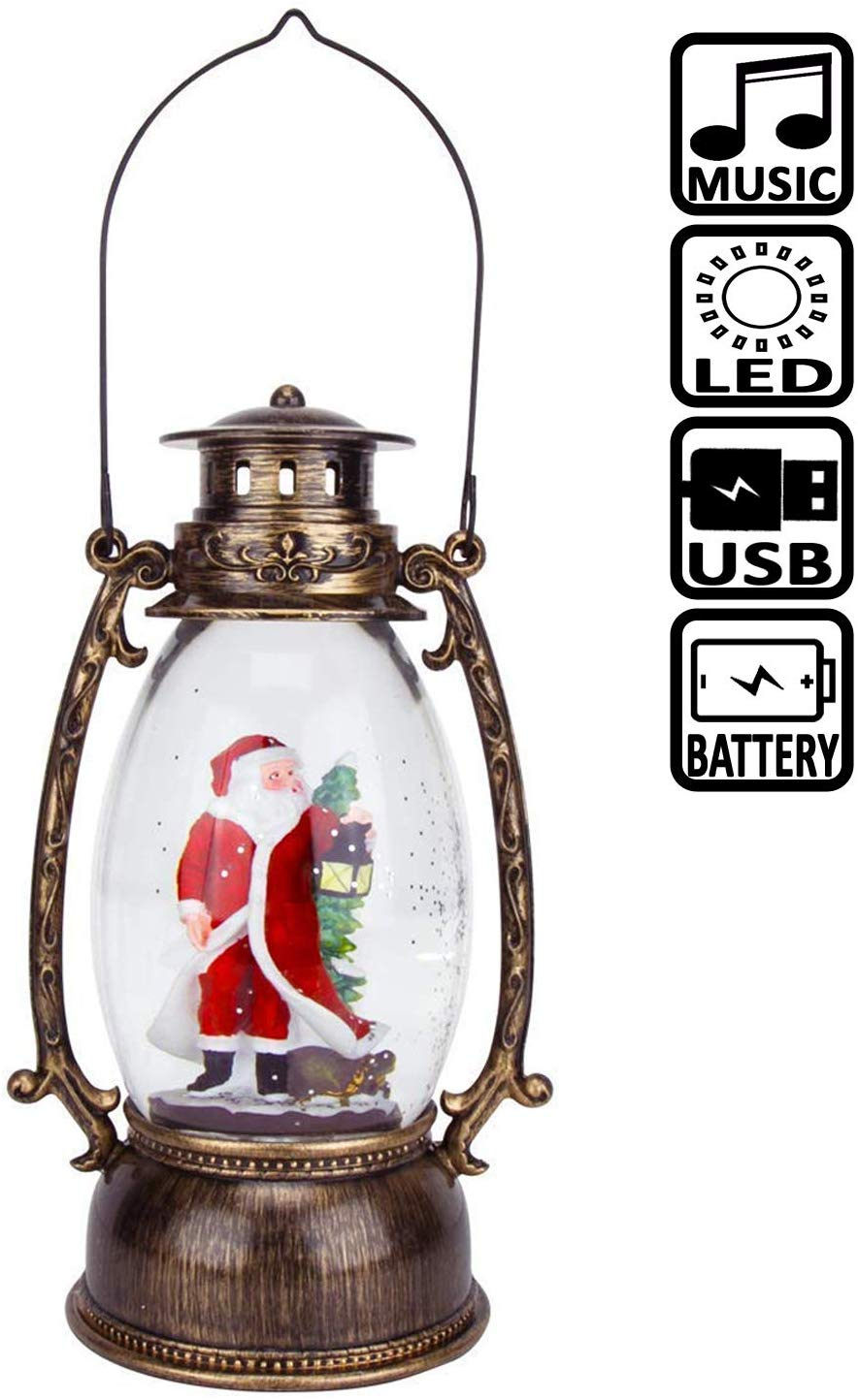 Santa Claus Christmas Music Snow Globe, LED Lighted ...