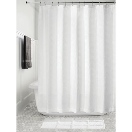 IDesign Waffle Fabric Shower Curtain White