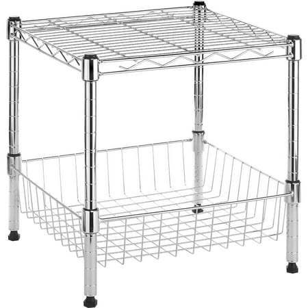 Whitmor Stacking Shelf with Basket Chrome