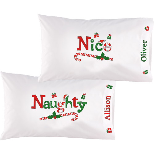Personalized Naughty and Nice Pillowcase Set