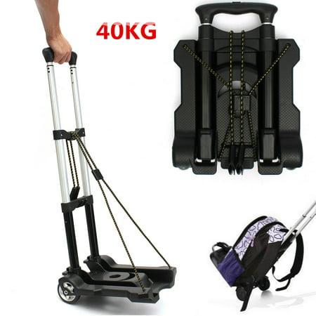 Aluminium 40KG Black Lightweight Foldable Hand Cart Travel Luggage Shopping Cart Trolley Folding