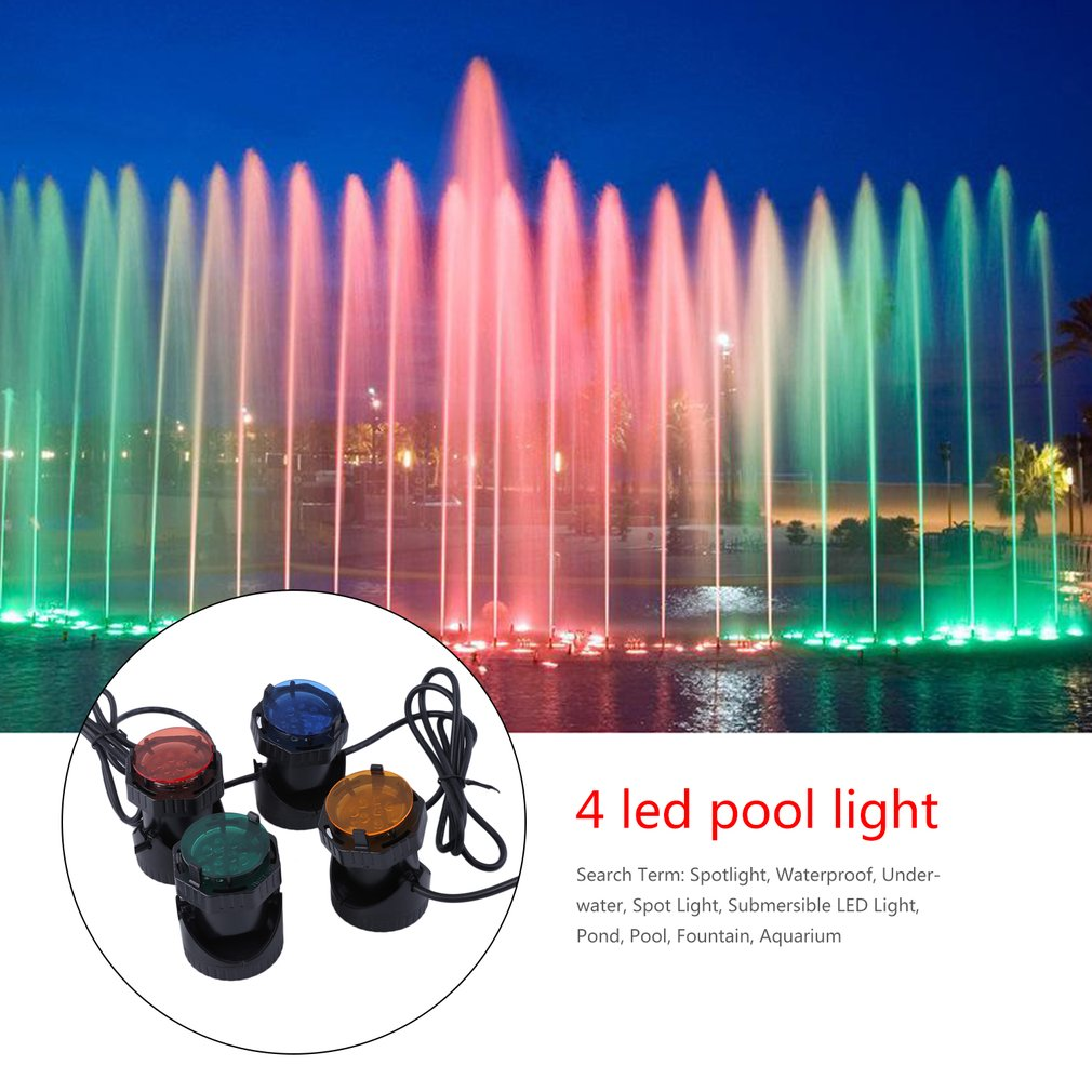 Waterproof Submersible RGB LED Pond Spot Lights For Underwater Pool Fountain Aquarium Spotlights With 4 Colors Lenses, Black