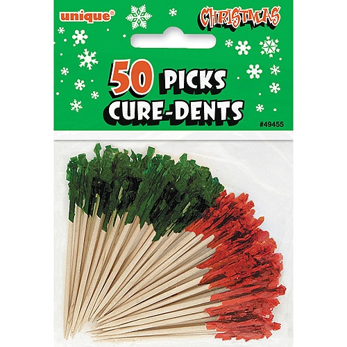 Christmas Frilly Cocktail Toothpicks, Red and Green, 50ct