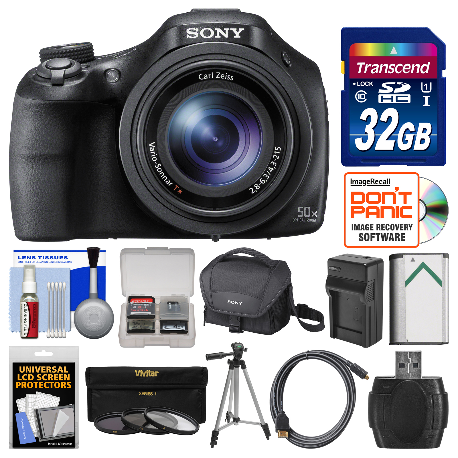 Sony Cyber-Shot DSC-HX400V Wi-Fi Digital Camera with 32GB Card + Case + Battery/Charger + Tripod + 3 Filters Kit