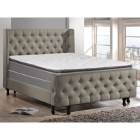 WAYTON, 12-inch Fully Assembled Soft Pillow Top Innerspring Mattress and Wood Box Spring/foundation set, |Twin Size| Mink & White Color