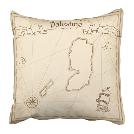 CMFUN Antique Palestine Old Treasure Map Sepia Engraved of on Vintage Torn America Ancient Pillow Case Cushion Cover 18x18