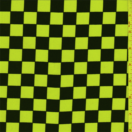 Neon Yellow/Black Check Activewear, Fabric Sold By the Yard ...