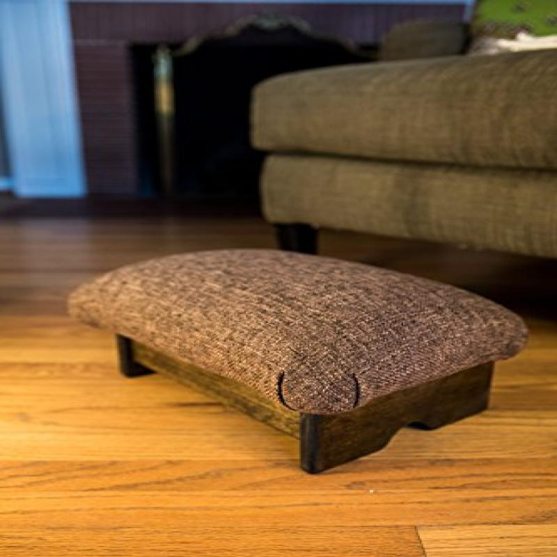 """Padded Foot Stool: Cocoa Brown, 7"""" Tall, Walnut Stain (Ma..."""
