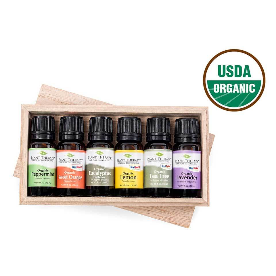 Plant Therapy Top 6 Organic Essential Oil Set, 10 mL (1/3 oz) each, 100% Pure, Undiluted, Therapeutic Grade