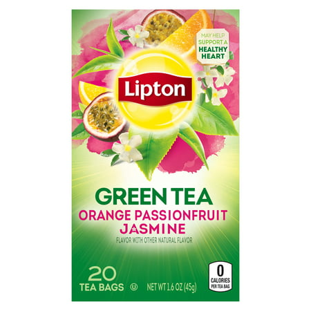 (4 Boxes) Lipton Green Tea Bags Orange Passionfruit Jasmine 20