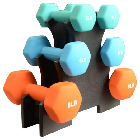 32 Lbs Dumbbell Set with Stand (3lbs, 5lbs, 8lbs set)