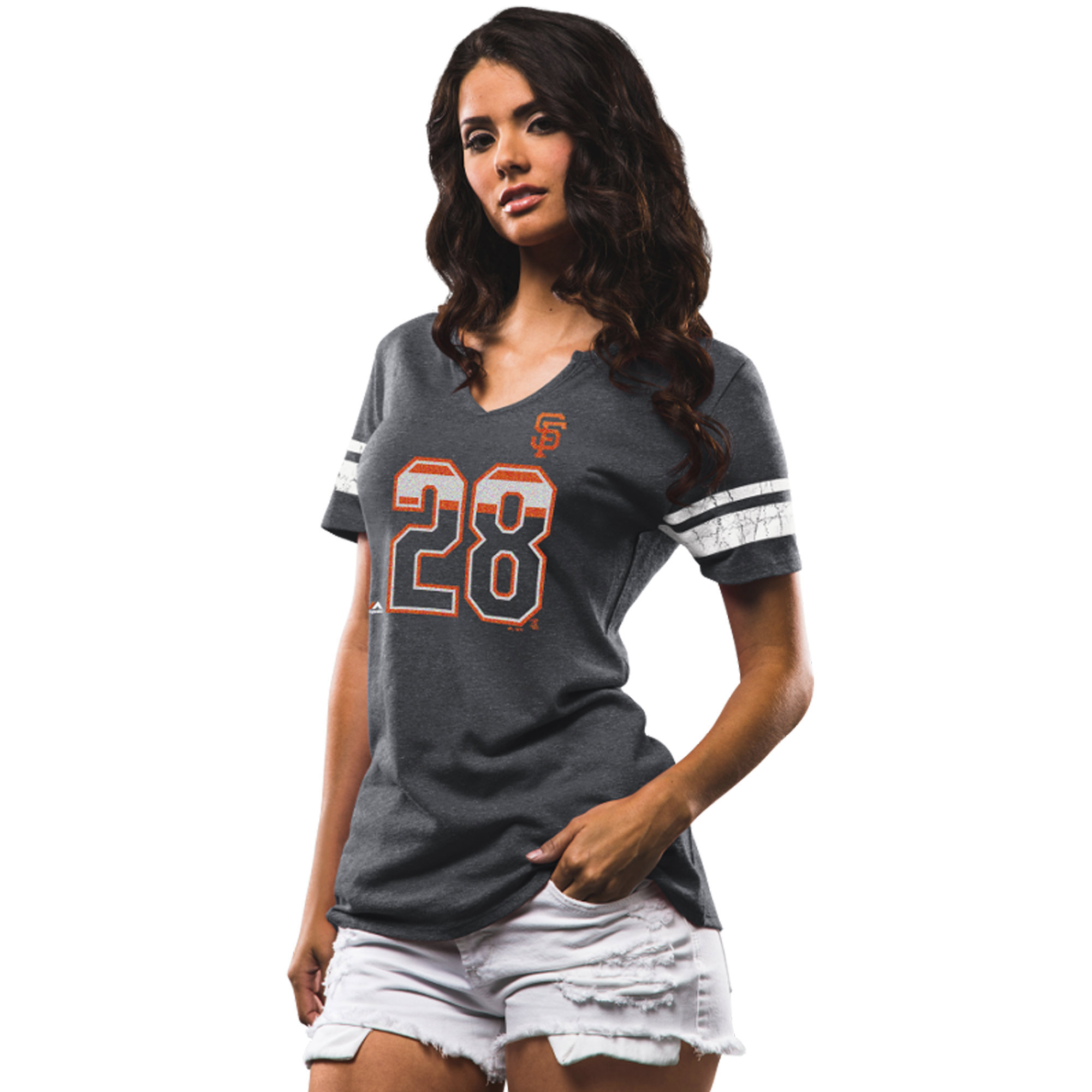 Buster Posey San Francisco Giants Majestic Women's Act Invincible Tri-Blend T-Shirt - Charcoal