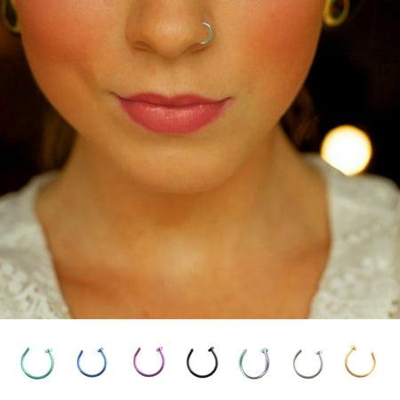 Babydream1 Men Women Stainless Steel Nostril Nose Hoop Ring Clip