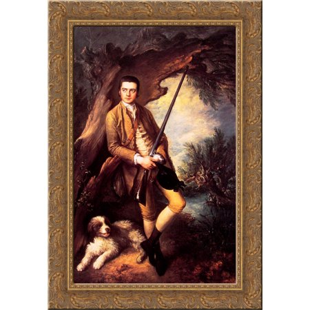 William Poyntz of Midgham and his Dog Amber 24x18 Gold Ornate Wood Framed Canvas Art by Thomas Gainsborough ()