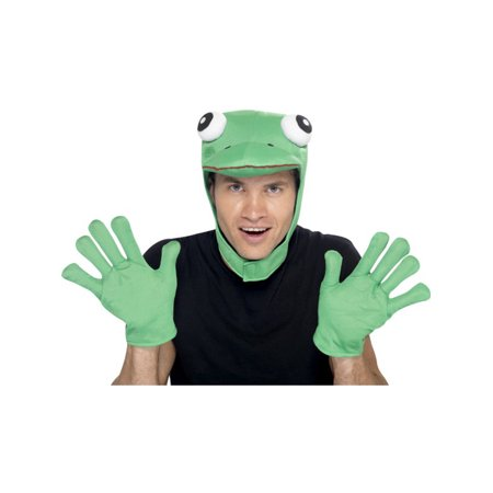 Frog Costume (Adult Zoo Animal Furry Frog Green Hood And Gloves Costume)
