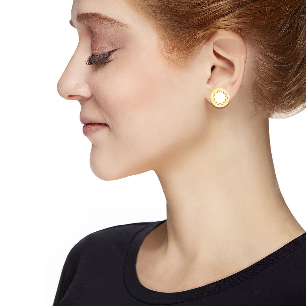 Mini Sunburst Stud Earrings In White And Gold