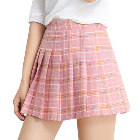 - Women Grid Pleated Skirt High Waist Miniskirt A-Lineskirt Tennis Short Skirts