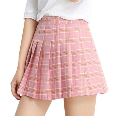 Women Grid Pleated Skirt High Waist Miniskirt A-Lineskirt Tennis Short Skirts - Schoolgirl In Skirt