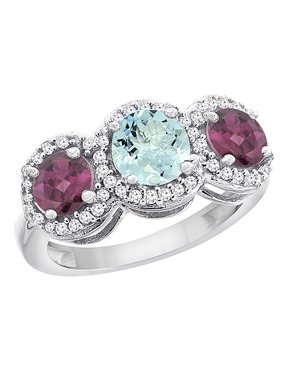 10K White Gold Natural Aquamarine & Rhodolite Sides Round 3-stone Ring Diamond Accents, size 5