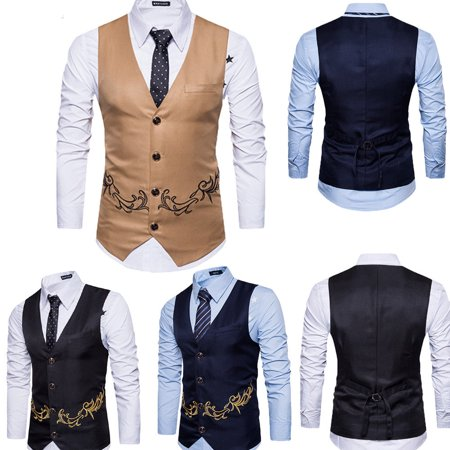 Mens Business Vest Slim Strips Formal Double-breasted waistcoat Jacket Tops (Mens Formal Jackets)