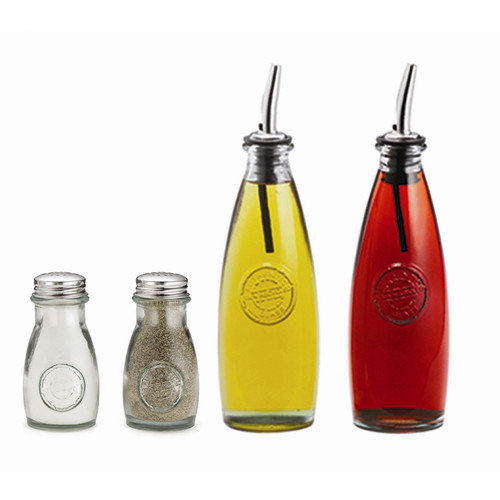 Tablecraft Authentic 4 Piece Recycled Glass Condiment Set