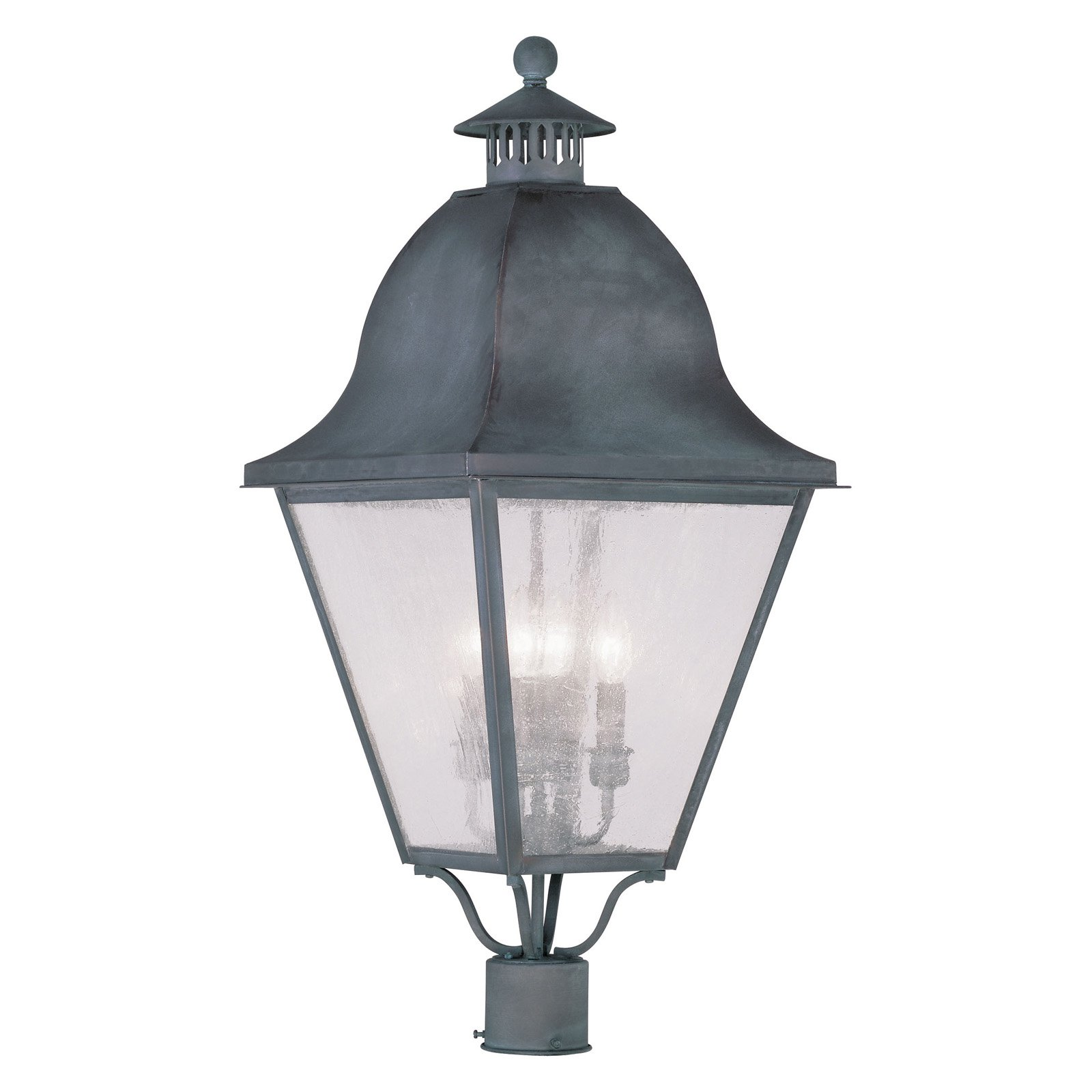 Livex Amwell 2548-61 4-Light Outdoor Post Head in Charcoal