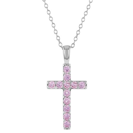 925 Sterling Silver Pink CZ Stick Cross Religious Pendant Necklace Girls 16
