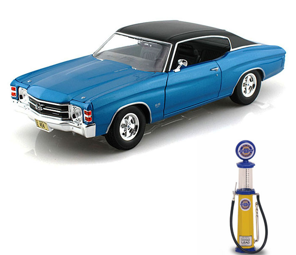 Chevy Diecast Car & Gas Pump Package 1971 Chevy Chevelle SS454, Blue Maisto 31890 1 18... by Maisto