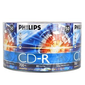 52x 700MB 80-Minute CD-R Media 50-Piece Pack, Philips Brand Logo CD-R By Philips