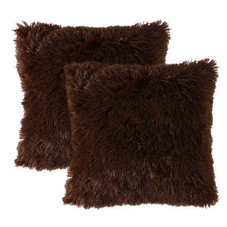 Tayyakoushi Set of 2 Luxury Faux Fur Daily Decorations Sofa Cushion Covers Zippered Throw Pillow Cover Deluxe Decorative Plush Pillow Case Shell for Bedroom Car 17 x 17 Inch Chocolate ()