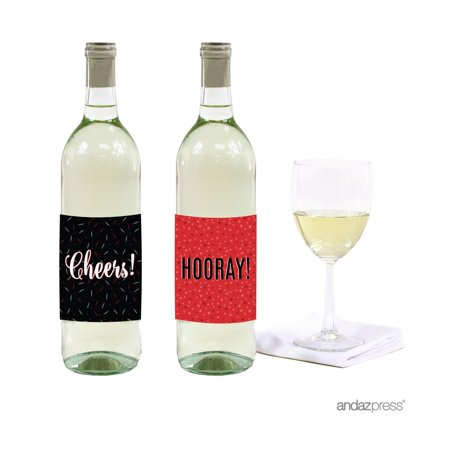 Signature Black, White, Red, Wine or Apple Cider Bottle Labels Stickers, Cheers! Hooray!, 8-Pack